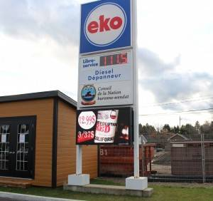 eko gas price changer with digital LED sign.