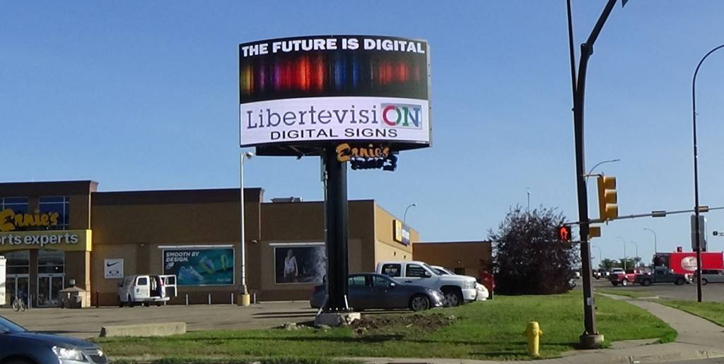 Digital sign by Libertevision in Alberta - Ernies sports expert.