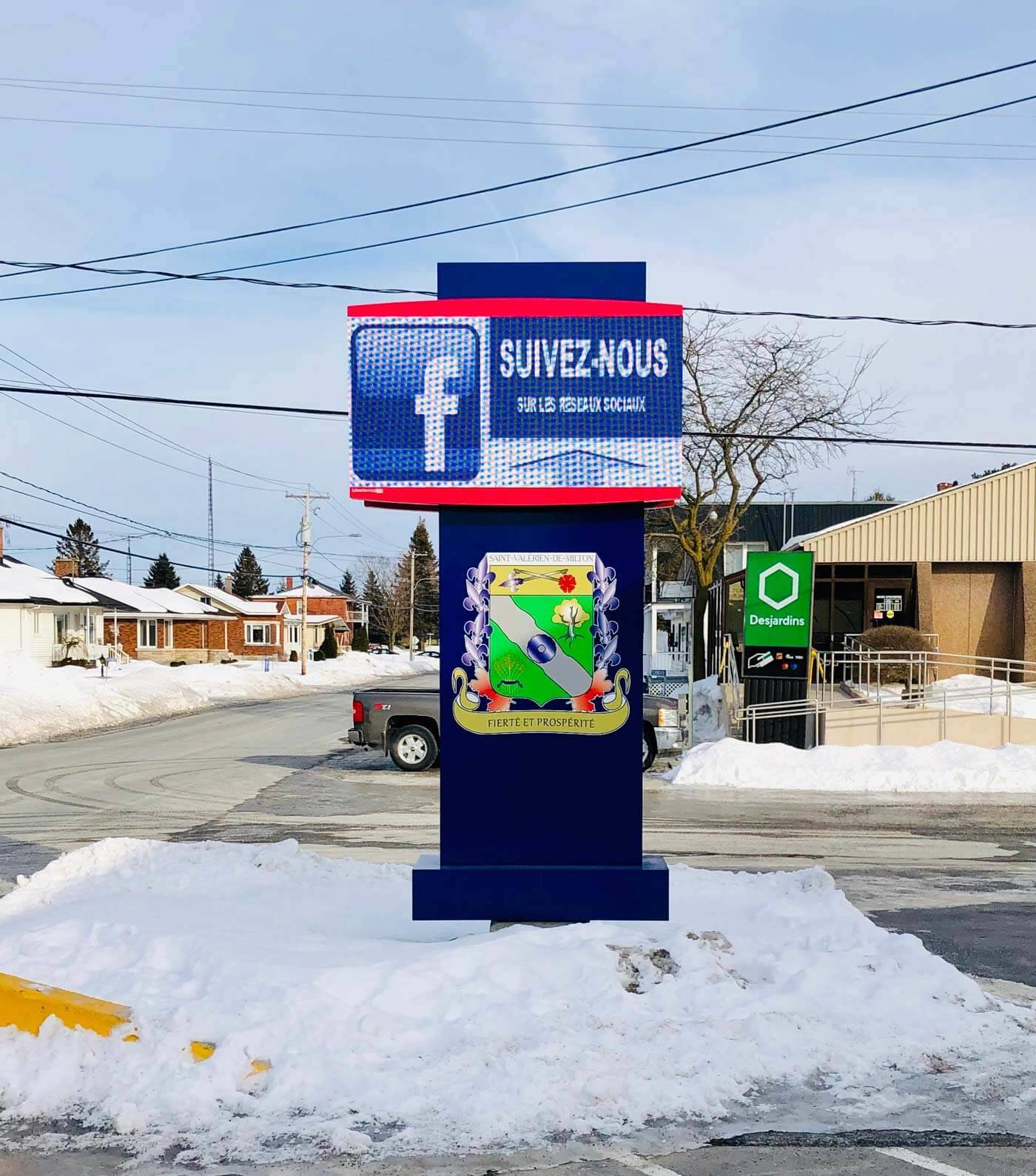 Digital sign for the Town of St-Valérien-de-Milton, Quebec